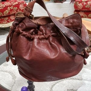 Lamb leather large chocolate hobo shoulder bag